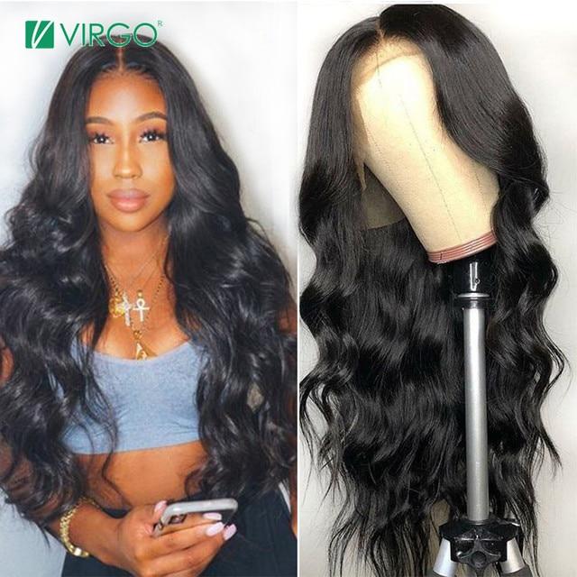 Pelucas de pelo humano de encaje peruano de pelo virgen con Peluca de la onda del cuerpo del pelo del bebé para las mujeres negras Remy cabello 150% densidad