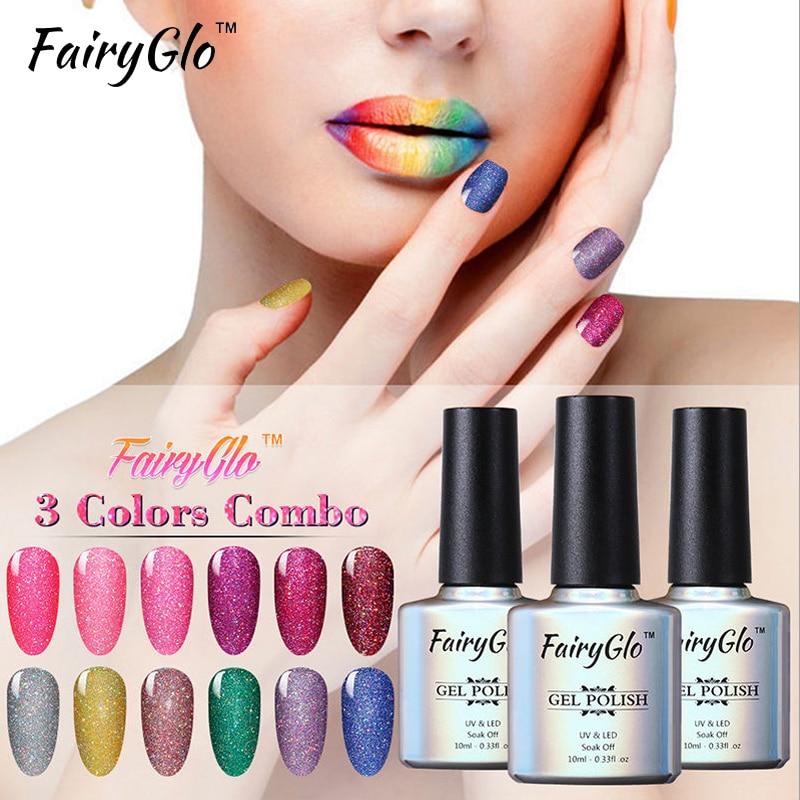 FairyGlo Nail Art Set Tool 3pcs Neon Bling Gel Nail Polish