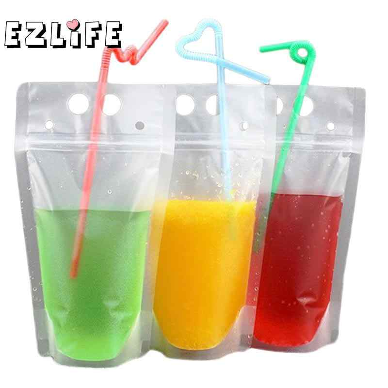 10 Pcs New Design Plastic Drink Packaging Bag Pouch for Beverage Juice Milk Coffee with Handle and Holes for Straw YCX5520