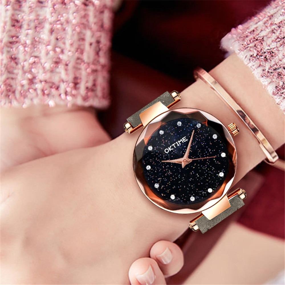 Fashion Women Watches 2018 Best Sell Star Sky Dial Clock Luxury Rose Gold Women's Bracelet Quartz Wrist Watches New Dropshipping