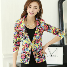 2016 spring and autumn new blazer fashion printing self cultivation Lapel all match women small business