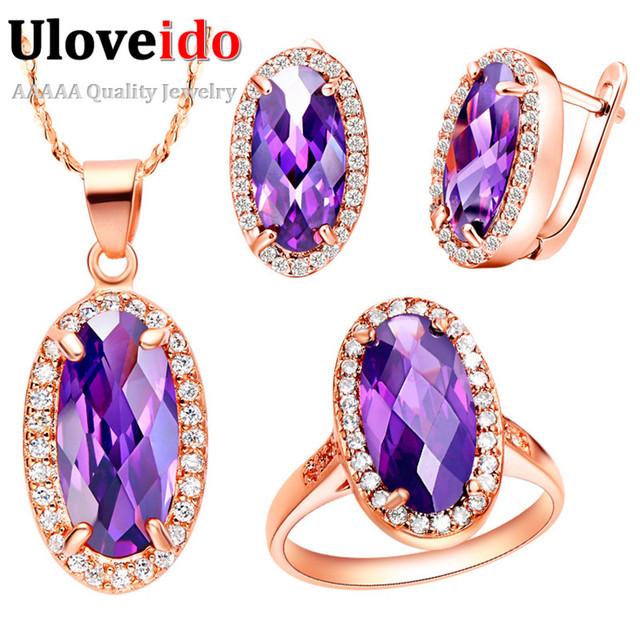 Uloveido boda joyería del anillo aretes collar oval redondo cubic zirconia chapado en oro rosa de plata establece rojo púrpura piedra t162