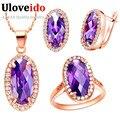 Uloveido wedding set jóias colar anel brincos oval rodada cubic zirconia rose banhado a ouro prata define red purple stone t162