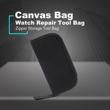 Multi-functional Canvas Bag Watch Repair Portable Tool Case Opener Screwdriver Zipper Storage Black