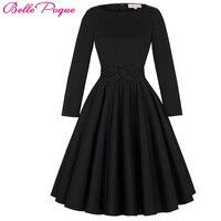 Womens Dresses 2016 Robe Pinup Big Swing Long Sleeve 50s Vintage Dress Black Women Winter Autumn