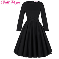 Womens Dresses 2016 Robe Pinup Big Swing Long Sleeve 50s Vintage Dress Black Women Winter Autumn