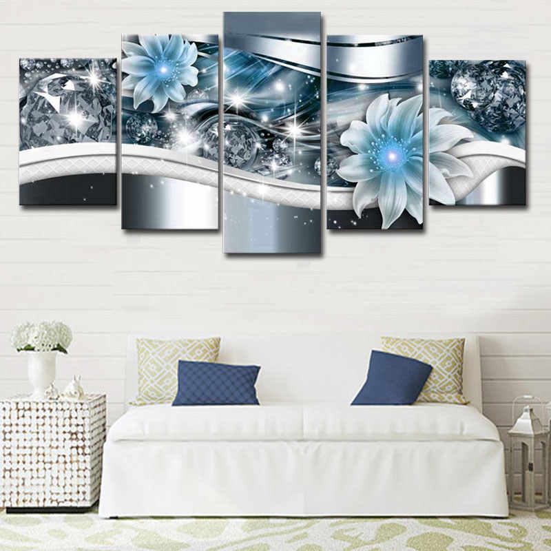 Flower Diamond Modern Canvas Painting 5 Panels Background Wall Art Poster Picture Decorations For Living Room Home Decor