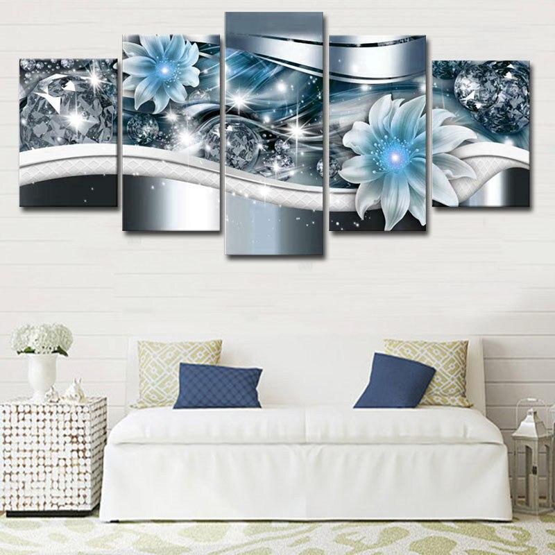 Современная Картина на холсте с цветами и бриллиантами 5 панелей