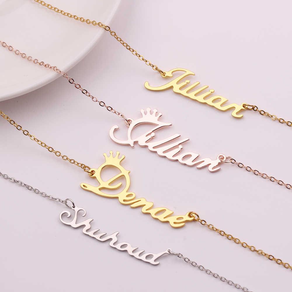 Персонализированное ожерелье C именем, колье с заказным именем, можно украсить ювелирными изделиями, изготовленный на заказ Цепочки и ожерелья, Цепочки и ожерелья Для женщин, индивидуальный подарок для нее