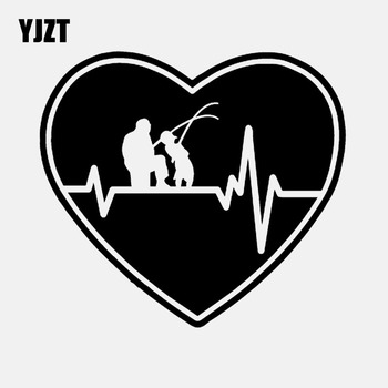 YJZT 15CM*13.5CM Heartbeat Heart Fishing Father Dad Son Fish Rod Reel Lure Vinyl Decal Car Sticker Black/Silver C24-0541 image