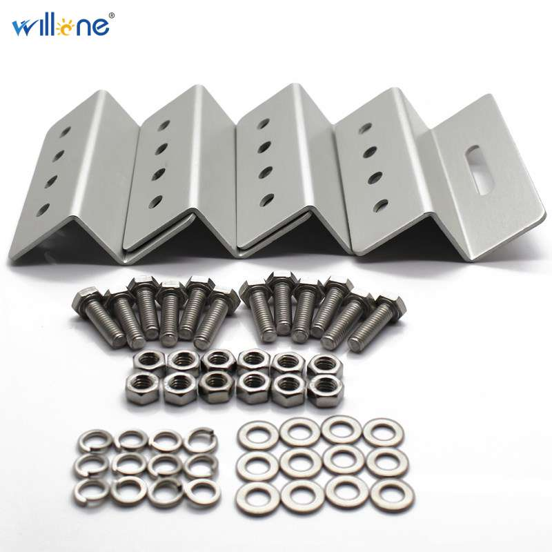 Willone Free Shipping Z Style PV Solar Panel Mounting Kits 4 Aluminum Brackets With Stainless Bolt For Solar System Fitting