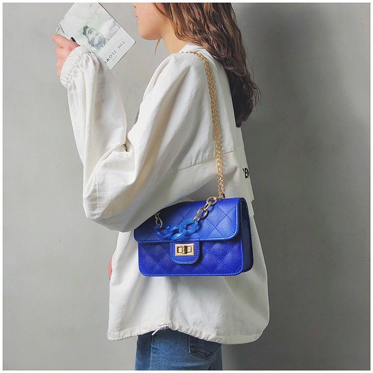 Luxury Women Classic handbag Designer Pink Blue Gradient PU Leather Lingge Shoulder Bag (15)