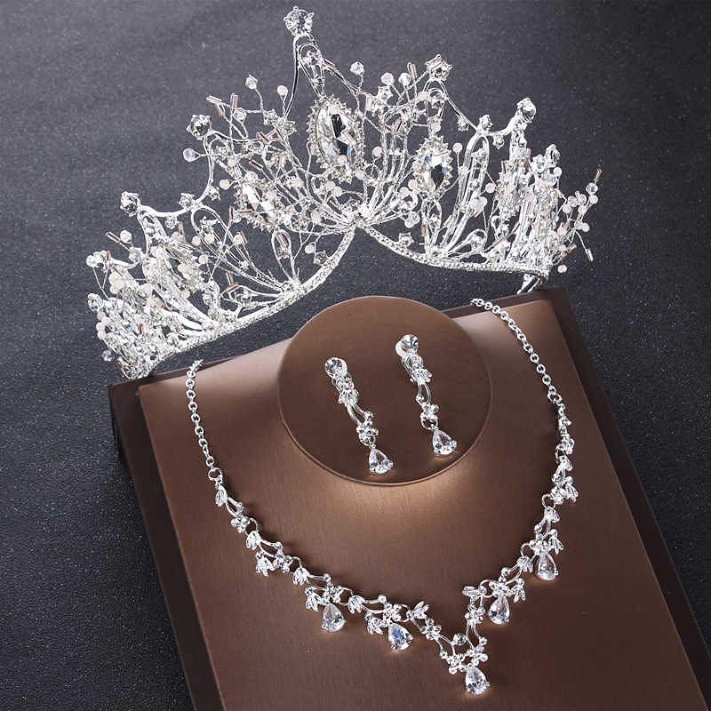 Luxury Sparking Crystal Beads Bridal Jewelry Sets Rhinestone Diadem Tiaras Crown Earrings for Wedding Necklace Set Accessories