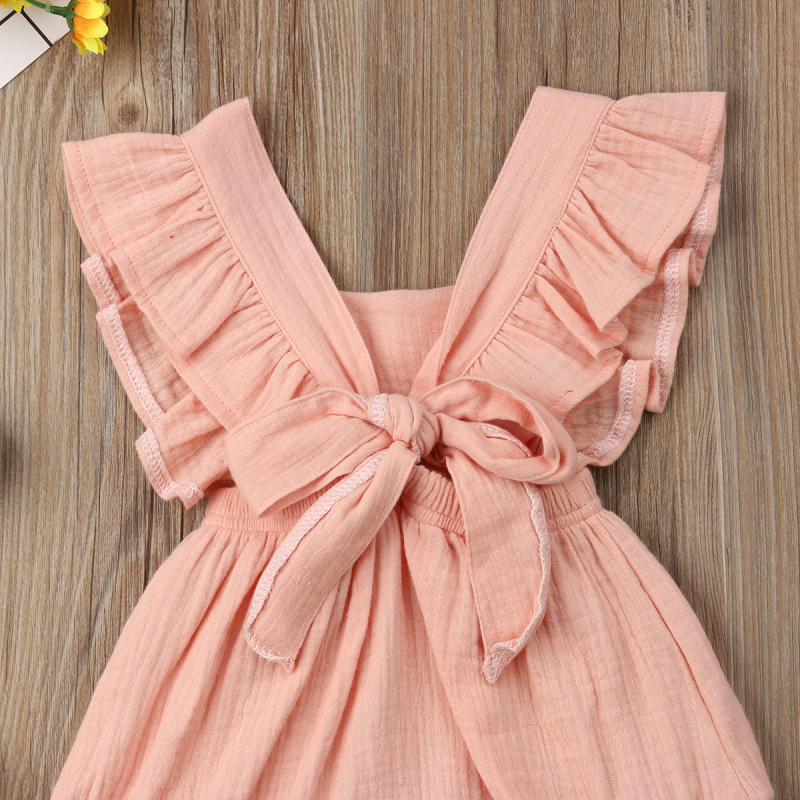 HTB1Q N8azzuK1Rjy0Fpq6yEpFXaT 6 Color Cute Baby Girl Ruffle Solid Color Romper  Jumpsuit Outfits Sunsuit for Newborn Infant Children Clothes Kid Clothing