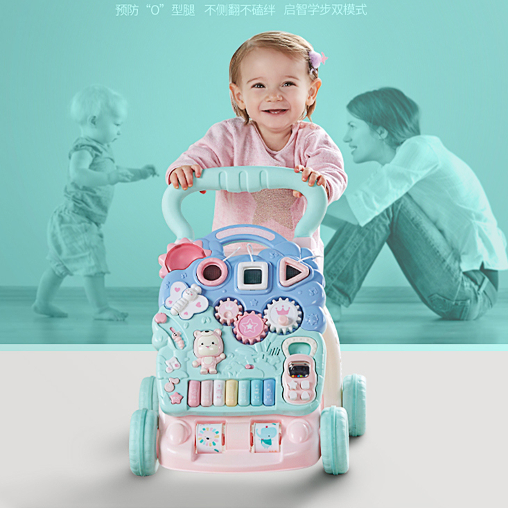 Mint Baby Walker Carts Baby Music Toys 6-18 Months Adjustable Speed Walker Learning Step 1 Year Old