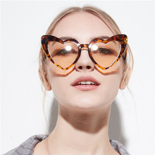 KRMDING 2018 heart-shaped sunglasses female models black transparent lenses sexy retro cat eyes ladies pink glasses