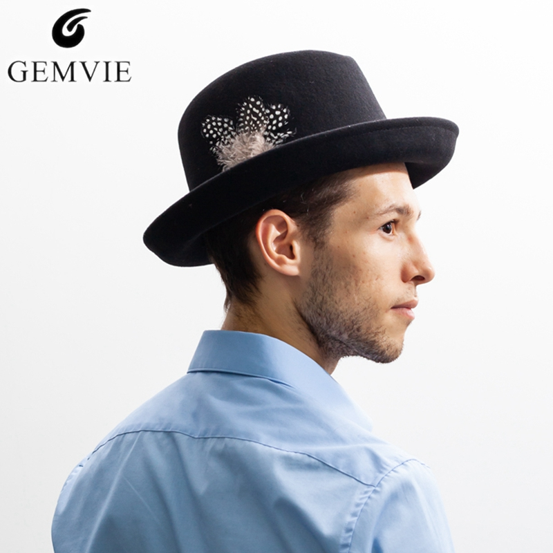 314aee7469d GEMVIE Fedora Hat Jazz Cap for Men Women 100%Wool Felt Hats Bird Feathers  Solid Color Curved Brim Retro Jazz Top Hat With Box