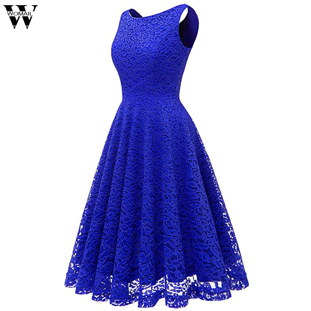 Womail Dress Fashion Women Sexy Solid Lace Sleeveless Evening Formal Maxi Party Gown Dresses Dropship Feb14