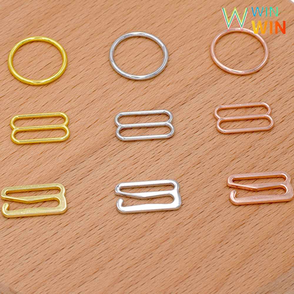 Free shipping 100 pcs Silver Gold Rose Gold Metal Lingerie Adjustment Strap Slides Hardware Sewing Clips Clasp Hooks for Bra in Buckles Hooks from Home Garden