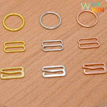 Free shipping 100 pcs Silver/Gold/Rose Gold Metal Lingerie Adjustment Strap Slides Hardware Sewing Clips Clasp Hooks for Bra