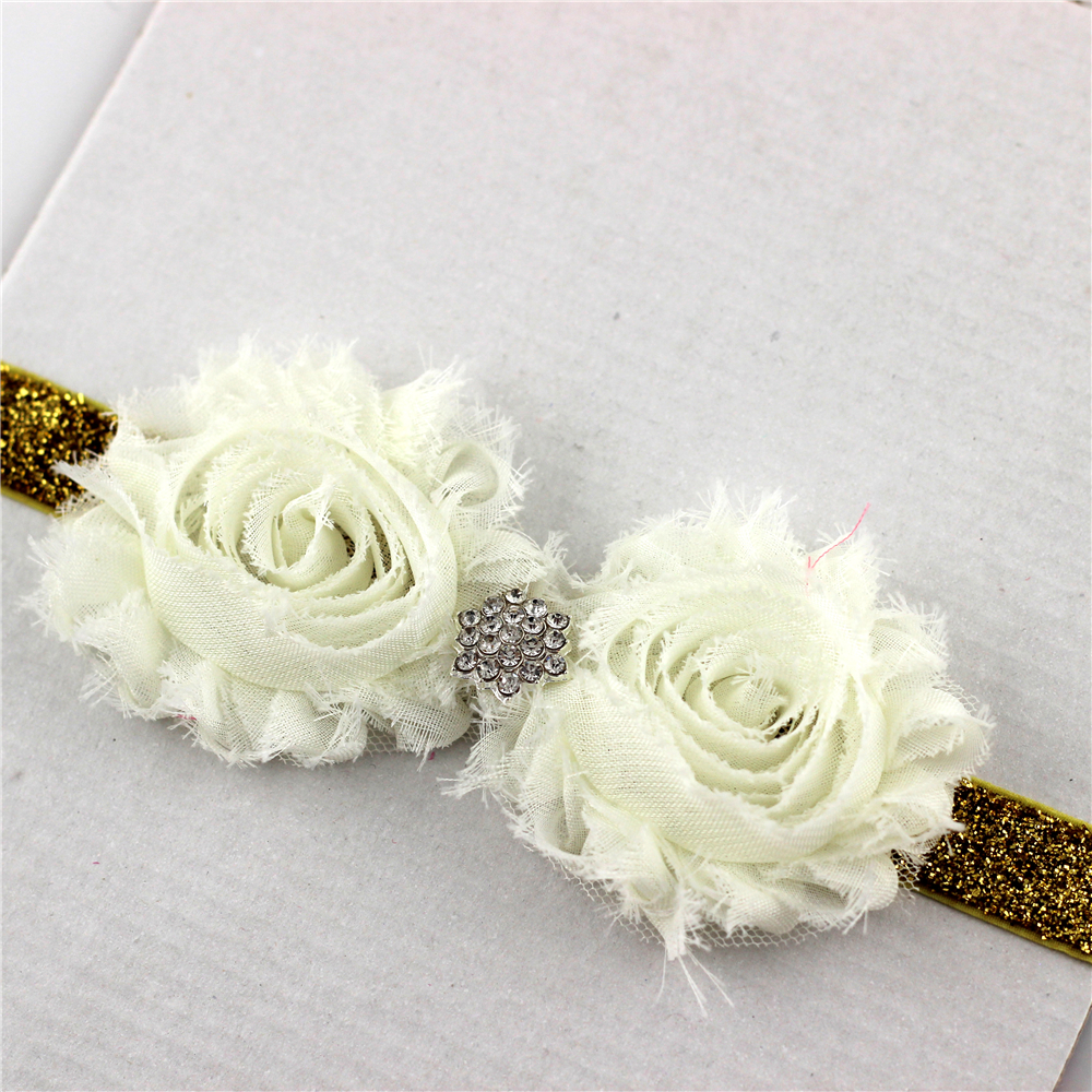 1pc Kids Shabby Flower Chic Headband Grils White Floral With Diamond