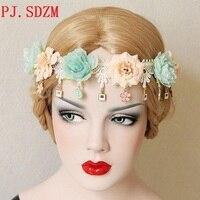בוהמיה סגנון פרח טאסל Hairbands אביזרי שיער צילום נסיעות ביץ 'יד אישה יופי נשי FG0113 רחב זר