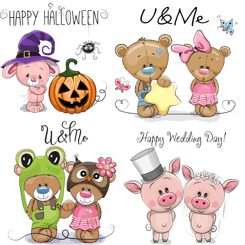 Iron On Patches Cute Small Pig Anima Bearl Children Thermo Transfer For Clothes Decor DIY Kids Tops Stickers Washable Print E