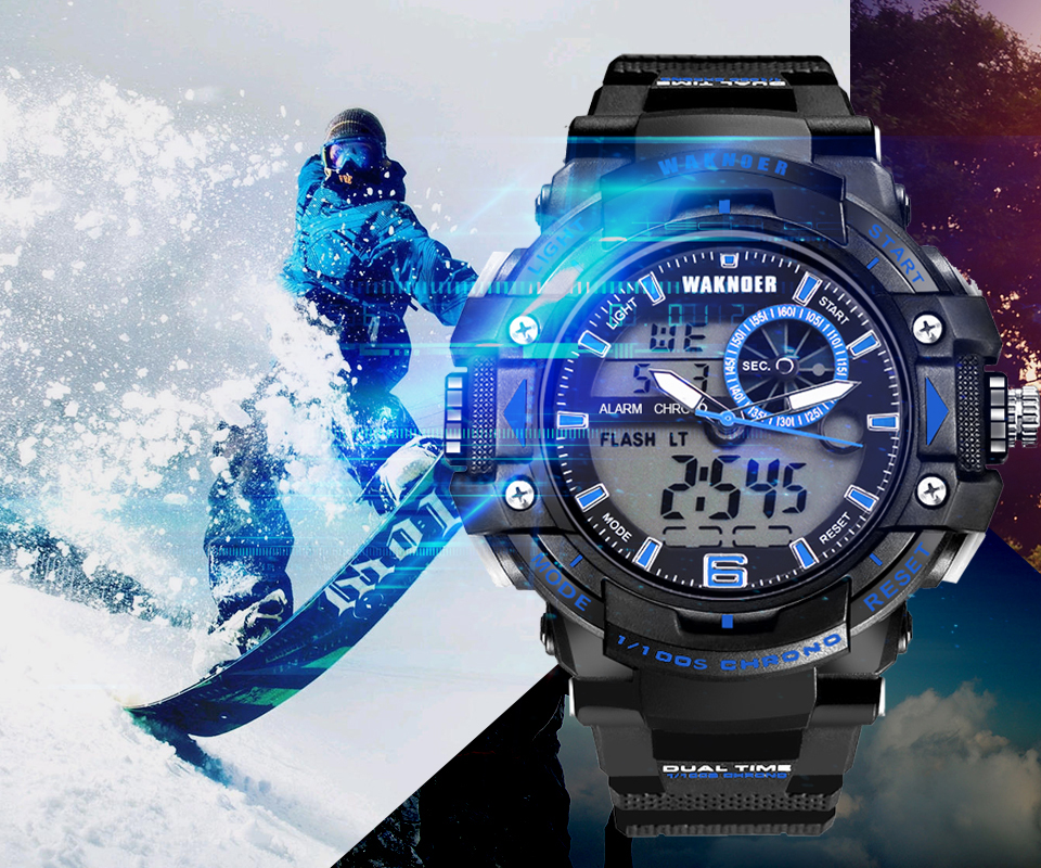 WAKNOER 014 Sport Watch Men Diving Camping Waterproof Clock For Mens Watches Top Brand Luxury Military relogio masculino montre