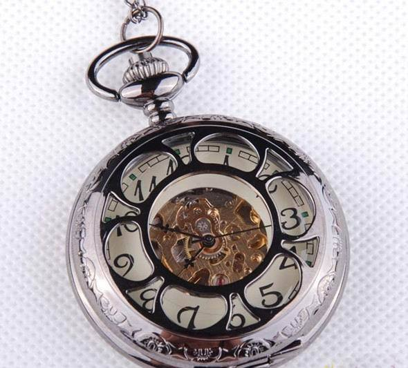 Free Shipping New Design Tungsten steel plated Hollow-out Mechanical pocket watch Fashion Sports watch wholesale W1057 10PCS/LOT