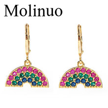 Molinuo exquisite colorful cubic zirconia rainbow drop earrings charm lovely girl woman dangle 2019 new arrival