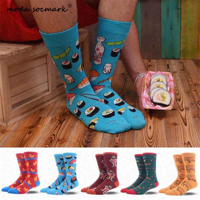 Moda Socmark Brand Harajuku Happy Socks Men Funny Combed Cotton Dress Casual Wedding Socks Colorful Novelty Skateboard Socks Men