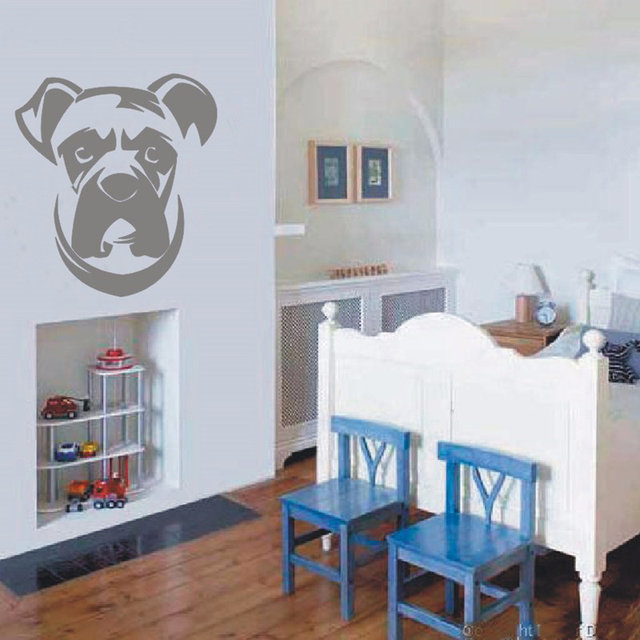 Online Shop Boxer Dog Wall Decal Vinyl Sticker - Cute Dogs Wallpaper ...