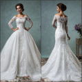 2016 New Sexy Sheer Sleeves Mermaid Lace Wedding Bridal Dresses Off Shoulder Prom Dress with Detachable Train P6190