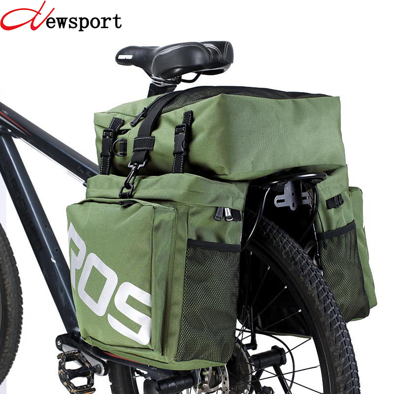 (ship from Russian) New 37L Bike Bags MTB Bike Rack Bag 3 in 1 Road Bicycle Pannier Rear Seat Trunk Bag Bicycle Accessories