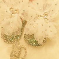 Ücretsiz kargo Dantel ilmek AB rhinestone Kristal Kız Bebek ayakkabıları el yapımı Bling elmas yumuşak Ilk Yürüyüşe ayakkabı ve emzik