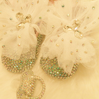 Free Shipping Lace Bowknot AB Rhinestone Crystal Baby Girl S Shoes Handmade Bling Diamond Soft First