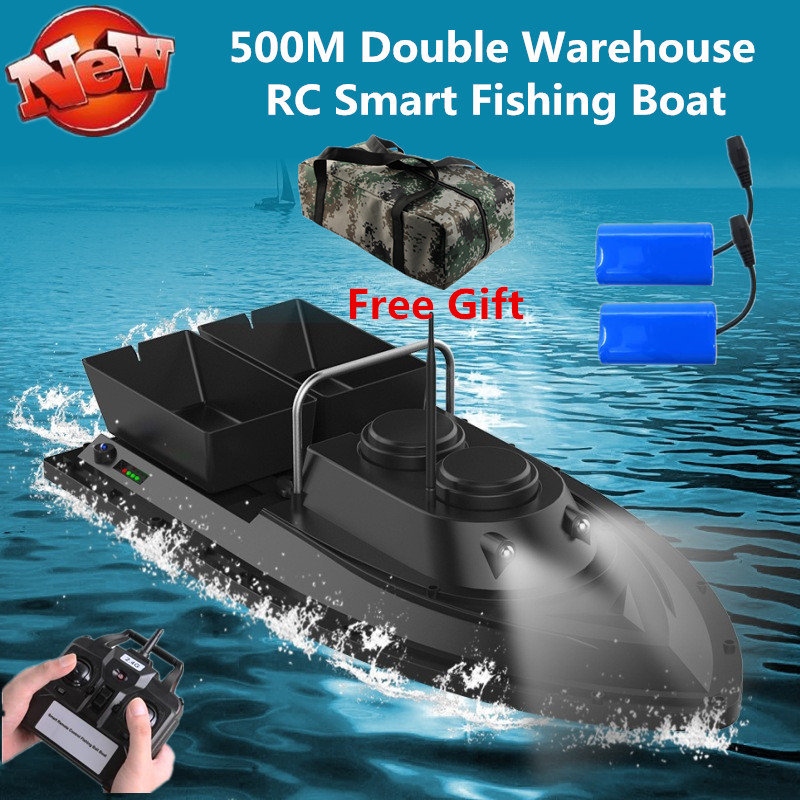 Free Bag Extra Battery Intelligent Wireless Control Double Hopper Bait Boat 500M 5 Level Wind RC Remote Control Fishing Boat