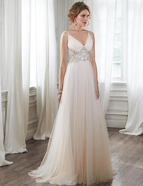Formal Y Tulle Maternity Beach Trumpet Wedding Dresses Long Gowns Casual Empire Waist Beaded Backless Bridal