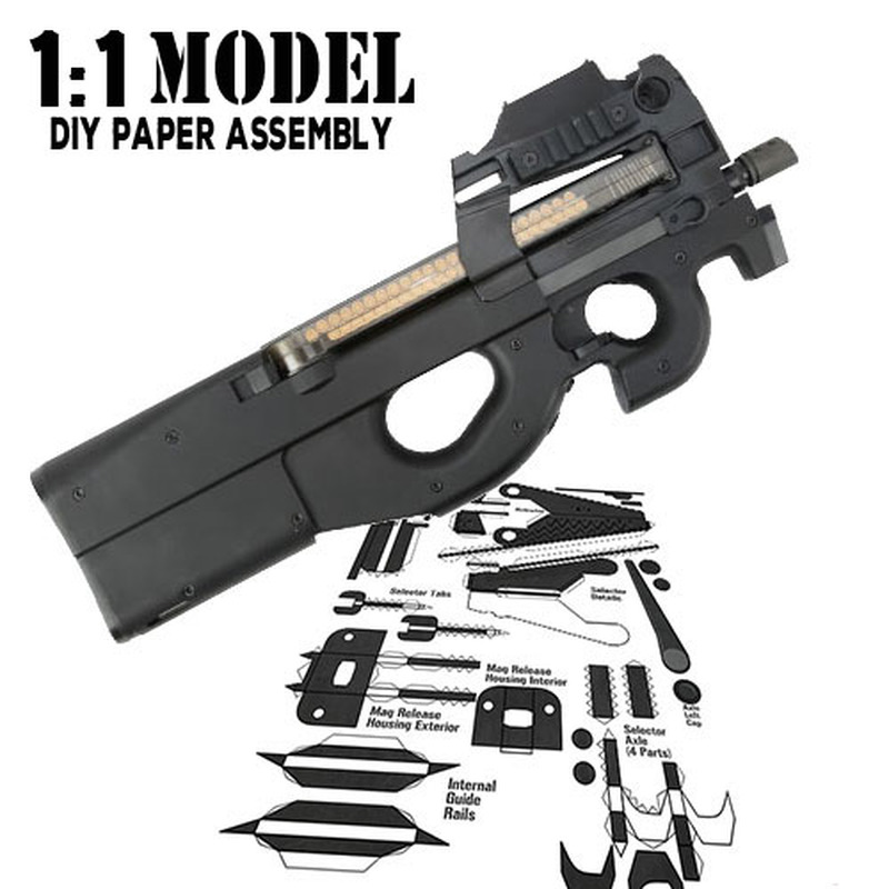 1:1 Crazy P90 Toy Gun Model Paper Assembled Educational Toy Building Construction Toys Card Model Building Sets