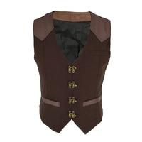 Sladuo Vintage Brown Striped V Neck Satin Sleeveless Mens Corset Steampunk Jacket Cosplay Men Victorian Coat Medieval Vest