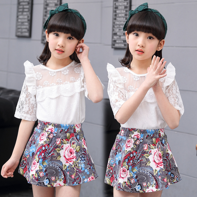 80d41677c29d4e 3-13y Girls clothes sets summer two piece blouse+ skirts 2018 fashion  o-neck female children clothing t-shirts and skirt suit