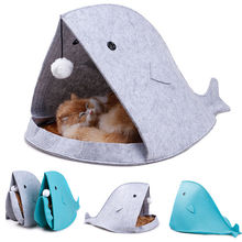 Indoor Shark Shape Folded Dog Puppy Cats Bed Cute Shelter Plush Pets House Kennel Pet Cat Warm Sleeping Bag Soft