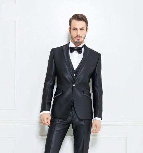 2016 Newest Groom Tuxedo Shiny Black Groomsmen Peak Lapel Wedding/Dinner Suits Best Man Bridegroom (Jacket+Pants+Tie+Vest) B524