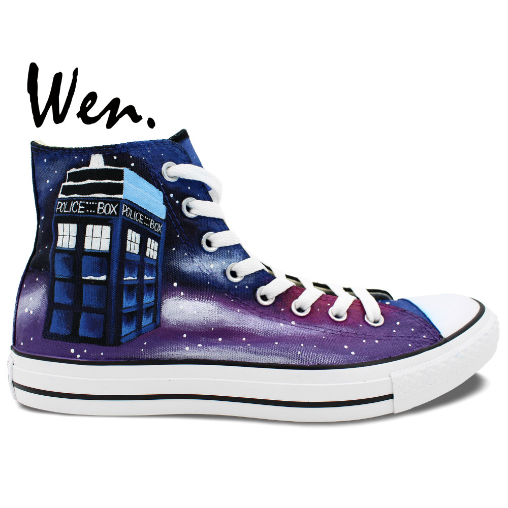 Wen Design Custom Hand Painted Sneakers Doctor Who Dalek Weeping Angel Little Tardis High Top font
