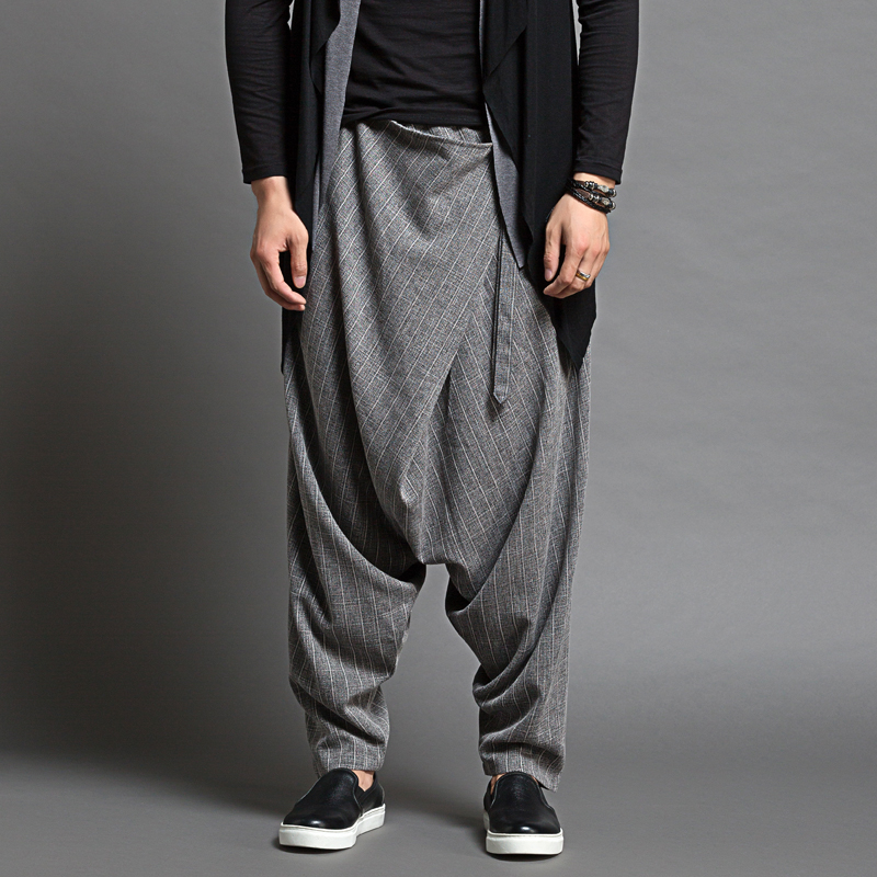 Casual Dancer Brand Mens Sagging Pants Harem Pantalon Hommes Men Thin Loose Harem Pants Men Fashion Design Baggy Pants Trousers