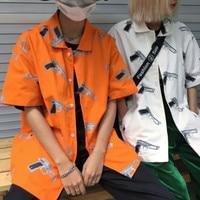 2018 Venta caliente del verano hombre Hawaiano marca floja ocasional tendencia de la Moda hombre manga corta naranja/blanco impresión camisas M-XL