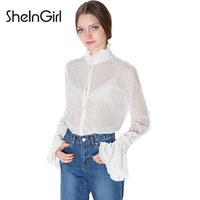 SheInGirl Sexy Blouse Shirt Women 2017 Spring White Chiffon Blouse Elegant Ruffle Blouse Office Shirt Female