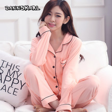 pajamas female cotton long sleeved cardigan in spring and autumn XXL V collar loose fat