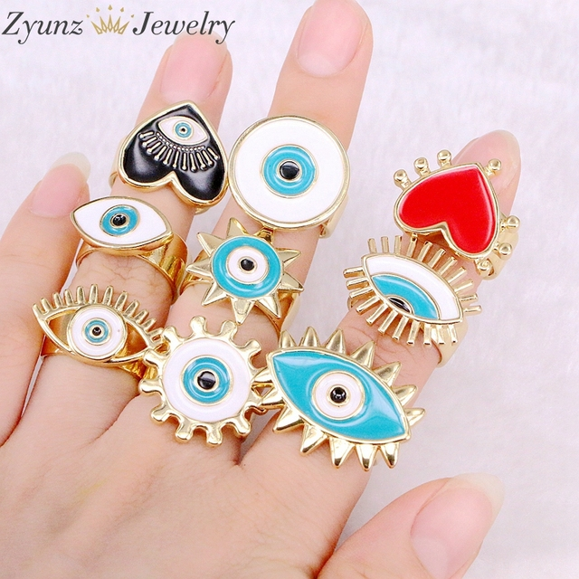 10PCS, NEW Mix Enamel Eye Ring, Gems Rings, Women Jewelry Ring, Blue / Black/Red Enamel Ring, Adjustable