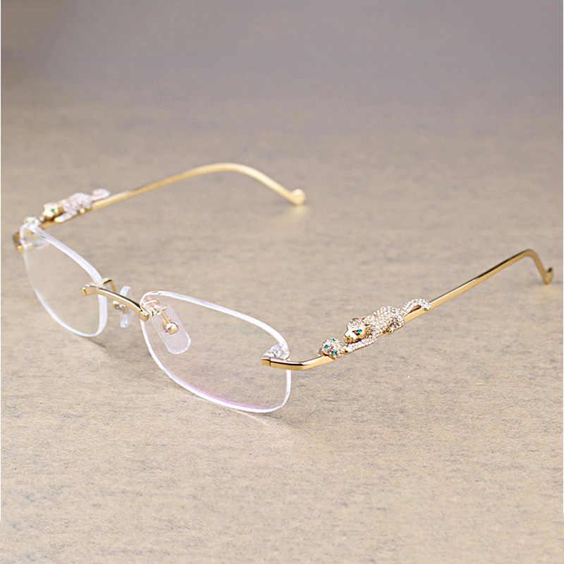 6405f309fdb Fashion Leopard Rimless Clear Glasses Men Transparent Stone Reading Glasses  Frame Luxury Eyewear Accessories Retro Oculos